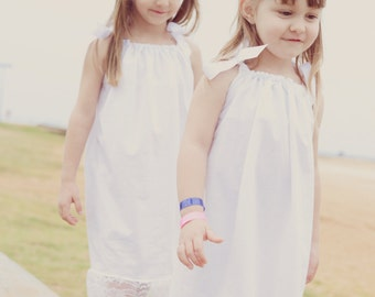 2---White beach portrait flower girl wedding dresses with wide lace in your girls sizes0 to 14 girls