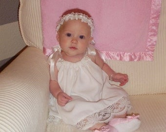 White Christening Baptism Blessing dress with beautiful lace in your girls sizes0 to 14 girls