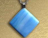 Fused Glass Pendant Jewelry - Baby Blue - STG4