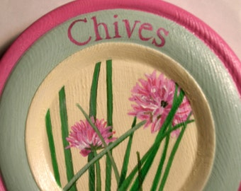 Hand Painted Wooden Plate, Herb Painting On Wooden Plate, Herb Painting Of Chives, Decorative Kitchen Plate,