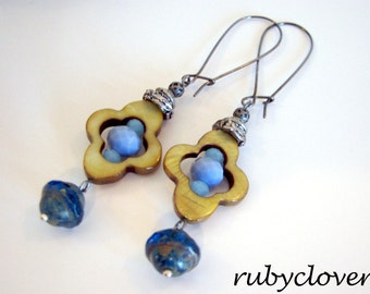 SALE, IRISH Earrings, Blue and Brown, Modern Medieval Jewelry, Quatrefoil, Ireland Inspired, Silver Accents, Regal,Long Dangles,Kidney Wires