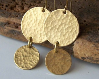 Etsy, Etsy Jewelry, Hammered Earrings, Metalwork Earrings, Brass Earrings, Round Disc Earrings, Golden Earrings, Dangle Earrings, Gift