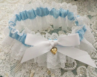 Pleated Lace and Bridal Blue Garter-Something Blue For You-Last One-1- Fits 14-18 inches