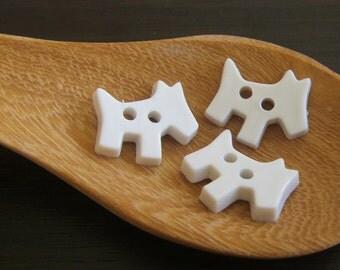 20x White Schnauzer Puppy BUTTONS 13x11mm - Code 88073