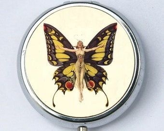 Art Deco Butterfly Flapper Pill Case pillbox holder box