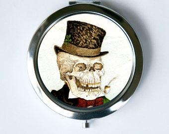 Skeleton Smoking Compact Mirror Pocket Mirror gothic goth odd victorian