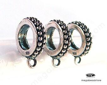 3 pcs 925 Sterling Silver Charm Holder 5mm Large Hole Fit 3mm Bracelet F236