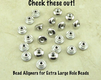 20 TierraCast 7mm Classic Bead Aligner with 4mm Peg Caps > Fits Euro Beads - Rhodium Plated Lead Free Pewter I ship Internationally 5755