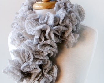 Elegant Women's Scarf - Fall Winter Scarf in Light Grey - Gift for Her