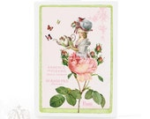 Marie Antoinette card, high tea, garden party, pink rose, vintage style, pastel colors, birthday card