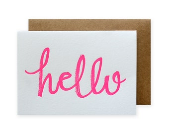 Hello Brush Letterpress Card