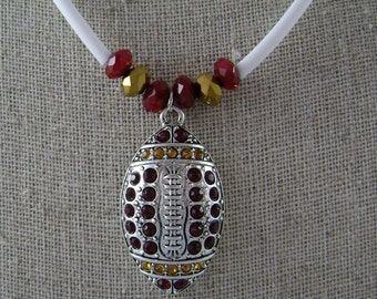 SALE !!!  Game Day Crystal Football Necklace in Garnet and Gold