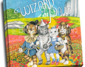 CAT ART PRINT - Wizard of Pawz - Wizard of Oz Cats 10x10 Ready to Hang Canvas Art