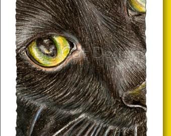 CAT CARD. Closeup of Black Cat face note card. 5x7 Framable Card.
