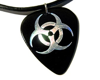 biohazard guitar pick necklace, black and silver
