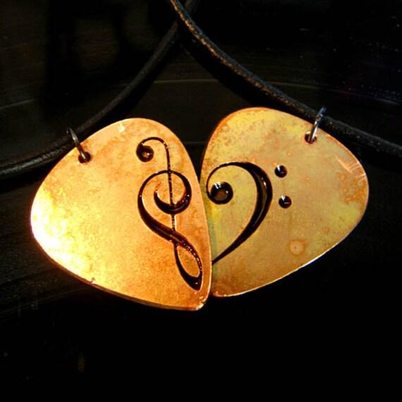 engraved metal heart guitar pick necklace set of two. Black Bedroom Furniture Sets. Home Design Ideas