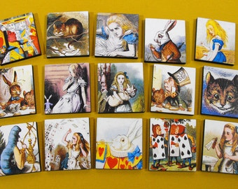 Alice in Wonderland Wood Craft Tiles