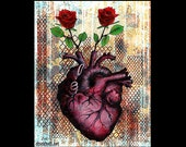 "Print 8x10"" - Roses Are - Heart Anatomy Anatomical Flowers Red Love Lowbrow Art Surreal Still Life Fantasy Pop Art Dark Cute Rust Love"