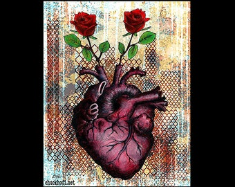 "Print 8x10"" - Roses Are - Heart Anatomy Anatomical Flowers Red Love Lowbrow Art Surreal Still Life Fantasy Pop Art Dark Cute Rust Love"