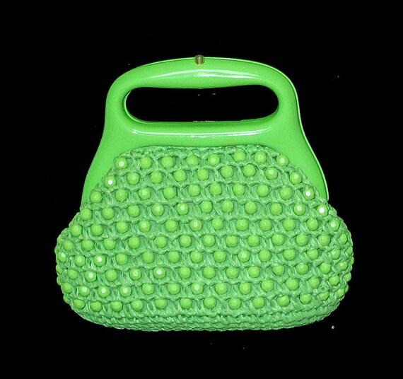 Vintage Handbag, Mod, Lefcort, 1960's, 1970's, Lime Green, Beaded, Raffia, FREE US SHIPPING