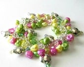 Pearl Charm Bracelet, ON SALE, Was 72 now 55, Vintage Lucite, Pearls, Crystals, Pink, Yellow, Green, Silver, Beaded Bracelet, Beaded Jewelry