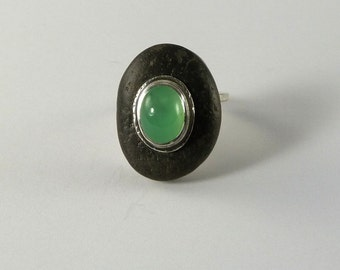 Beach Stone with Chrysoprase Ring  Gemstone Jewelry California Beach Rock Ring