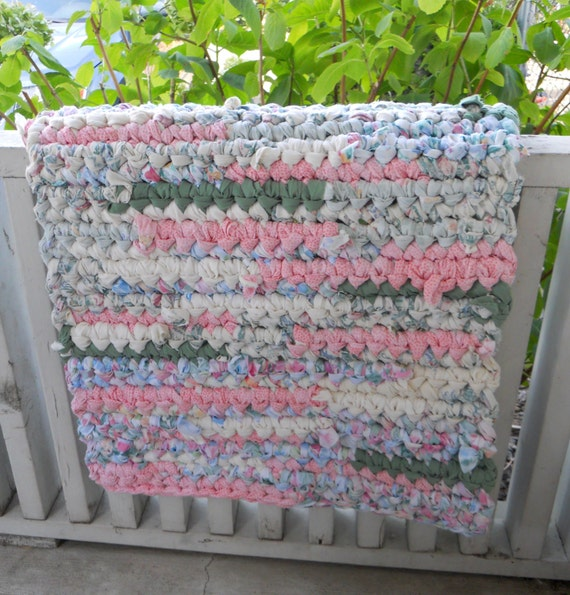 Recycled Rag Rug Colorful Shabby Chic Pink Green Green