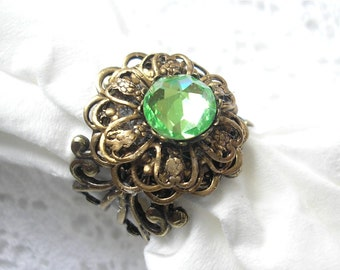 Peridot Victorienne Antiqued Brass and Vintage Swarovski Ring
