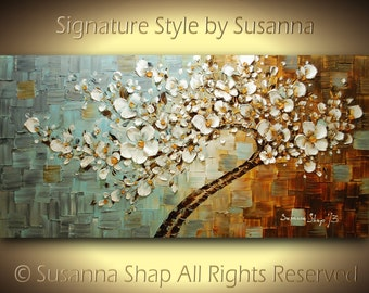 ORIGINAL Abstract Landscape Tree Painting - Large Textured White Cherry Blossom Oil Gallery Fine Art by Susanna Made to Order 48x24