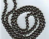 8mm Black Glass Pearl Round Beads