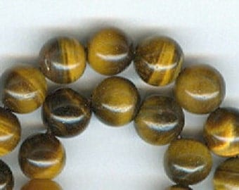 6mm Tiger Eye Gemstone Round Beads - 8in strand