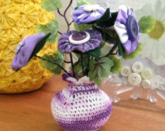 Yo yo Flowers in Recycled Plastic Container Crochet Vase Mini Button Fabric Yoyo