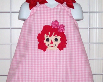 Rag Doll Dress -  Applique with Monogram Pink Gingham A-line Dress - Birthday Party
