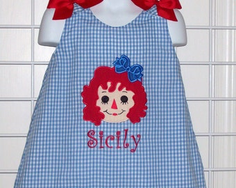 Rag Doll Dress - Applique with Monogram BLUE Gingham A-line Dress - Birthday Party