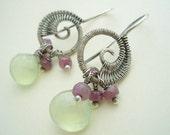 Lil' Woven Nautilus----Phrenite Briolettes, Pink Sapphire and Sterling Silver