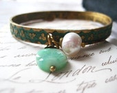 bangle bracelet, floral detail, painted verdigris, minty green, rhodochrosite coin, freshwater pearl, charm dangles, Women jewelry