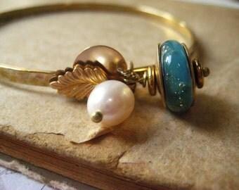 SALE Originally 42.00 NOW 35.00 Lampwork bracelet, brass bangle, hammered metal, Boro glass bead, freshwater pearl, brass disc, bass charms