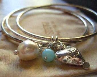 silver bangles, vintage silvertone, charm dangles, sterling bead, Karen HillTribe, heart charm, freshwater pearl, opal bead, womens jewelry