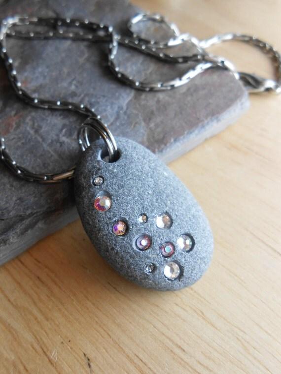 Beach Stone Jewelry Pebble Necklace LUCKY STAR