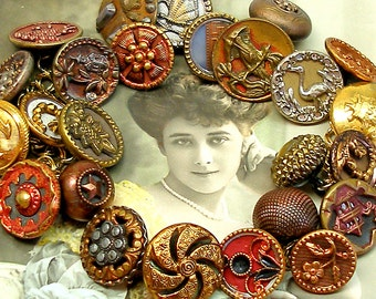 Antique BUTTON charm bracelet, Victorian pictures in red & copper on gold. Antique Button Jewellery.