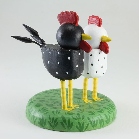 Chicken and Rooster Wedding Cake Topper by bunnywithatoolbelt