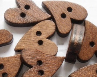 Buttons (B11) Ten Primative Heart Shaped Wooden Buttons for Sewing Knitting Crochet Scrapbooking and Crafts