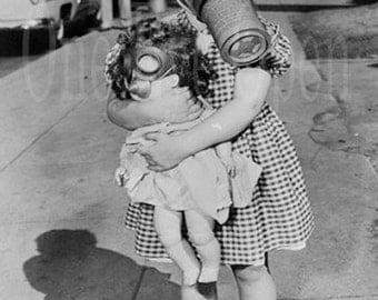 Quirky Vintage Photograph - Girl and Dolly in Gas Masks - Reproduction Print 5 x 7