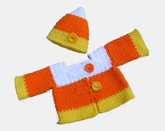 Birthday Sale 1.20 - Candy Corn Crochet Pattern Sweater and Crochet Hat Baby Sweater and Hat Permission to Sell - No. 68
