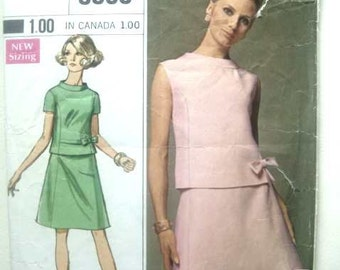 Vintage 60s Simplicity Designer Fashion Sewing Pattern 38 Bust 2 Piece Dress Ultra Mod Outfit Mad Men Era