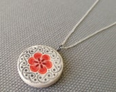 small plum blossom necklace, ruby and charcoal ... porcelain jewelry by Sofia Masri
