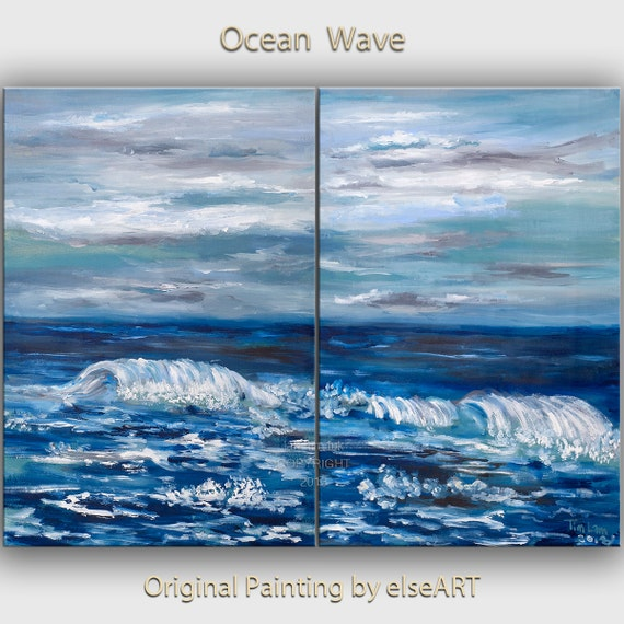 Sea art  Wave painting Original abstract Oil painting on gallery wrap canvas Ready to hang by tim Lam 48x36