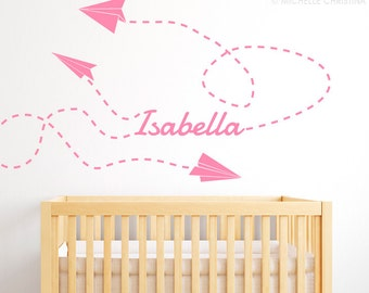 Child Name with Paper Plane Wall Decal - Child's Name Wall Decal - Paper Planes Wall Decal - Kid Decals - Baby Name Decal - ND6