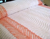 Vintage Chenille Bedspread - Snowy White with Peach Bows and Trim - Full or Queen Coverlet