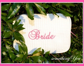 """READY TO SHIP Wedding Day """"Bride"""" Cosmetic Bag - Personalized Brides Toiletries Case, Last Minute Wedding Day Makeup Bags, Fast wedding gift"""